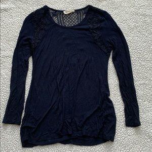 Lace, Long Sleeve, Navy, Shirt, Small